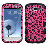 For Samsung Galaxy S III 3 Rubber IMPACT TUFF HYBRID Case Cover PInk Cheetah