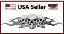 1 Chrome 3D Skull & Flame Black Eyes Emblem Self Adhesive 3 D Car Decal/Logo