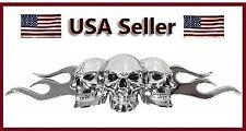 Chrome 3D Skull/Flame Black Eyes Emblem Decal Motorcycle Harley Davidson/chopper