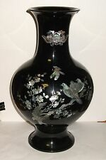 "HUGE 16""3/4 H. KOREAN MOTHER OF PEARL BIRDS ON BLOSSOMS TREE BLACK LACQUER VASE"