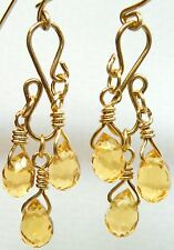 Earrings Citrine Briolette Chandelier 14/20 YGF 6.0 Carats Hand made