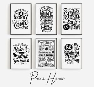 Kitchen Prints Black and White Funny Wall Art Pictures Poster Living Room