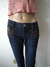 Rare !! GRACE in LA IDOL Low-rise Jeans - Tons of Crystal Bling Front&Back sz7