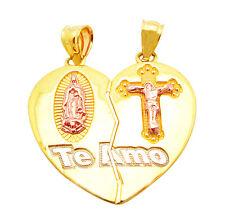 10k Two Tone Gold Heart Charm Guadalupe Te Amo Pendant 3.0 g