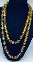 "Stunning Art Deco Vintage Faceted Amber Czech Glass Flapper Bead Necklace (40"")"