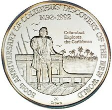 1991 Turks Caicos Large Silver Proof 20 crowns Columbus Ship/Caribbean