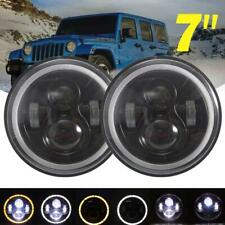 """Pair 7""""inch LED Headlights Turn Signal Lights DRL for Land Rover 90 110 Defender"""