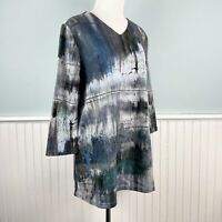 SIZE Medium M Trisha Tyler Gray Abstract Watercolor Print Top Blouse Shirt NWT