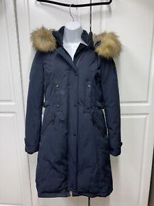 Vince Camuto Faux Fur Hooded Faux Down Parka Long Coat Navy Blue Size Medium