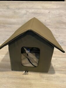 KH Outdoor Heated Cat House Weatherproof Insulated Pet Kitty Shelter Green