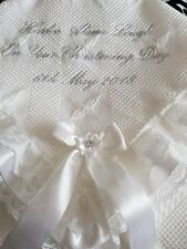 beautiful pure white baby christening shawl **NEW** PERSONALISED