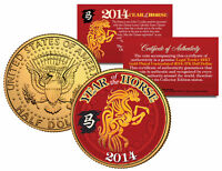 2014 Chinese New Year YEAR OF THE HORSE 24K Gold Plated JFK Half Dollar US Coin