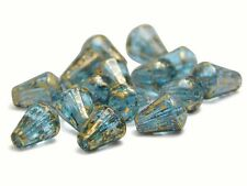 6x8mm Gold Washed Aquamarine Czech Glass Vertical Tear Drop Beads (15) #1354