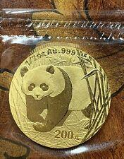CHINA 2001 GOLD PANDA 200 YUAN 1/2 OZ COIN, BU, MINT SEALED