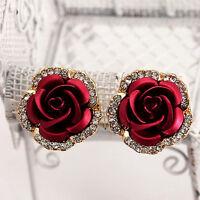Love Fashion Women Lady Rose Flower Crystal Rhinestone Pierced Ear Stud Earrings