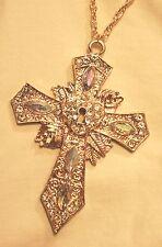 Gorgeous LRG White Rhinestone Key to My Heart Goldtone Pectoral Cross Necklace