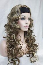 Ladies wig brown blond mix long Curly Curls Women Lady 3/4 half wig headband