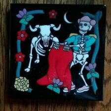 "Skull Matador. Unique Rare Ceramic Tile Trivet Spook Fest 6"" Halloween"