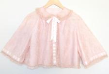 Vtg Bedjacket Odette Barsa Pink Lace Satin Ribbon Lingerie Cropped Robe M/L