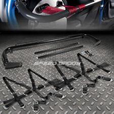"""BLACK 49""""STAINLESS STEEL HARNESS BAR+BLACK 6-PT SHOULDER STRAP CAMLOCK SEAT BELT"""