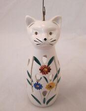 JAPAN WHITE CERAMIC CAT LANTERN Candle Holder with Hanging Hook