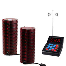 Wireless Restaurant Paging Queuing Calling System W/Transmitter&20*Coaster Pager