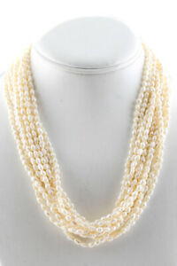 PJS Womens 14KT Yellow Gold Seed Pearl Multistring Necklace