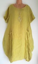 New Lime Green Striped Linen Italian Lagenlook tunic dress uk fits 20 22 24