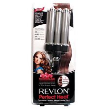 Revlon Perfect Heat Ceramic Tourmaline Jumbo 3 Barrel Waver Curling Iron RV084C