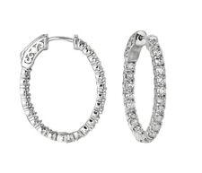 3.00 Carat Natural Diamond Oval Hoop Earrings G SI in 14K White Gold