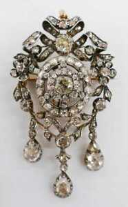 Handmade Antique Rosecut Diamond Brooch Made in India