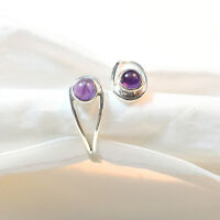 Unisex Jewelry 925 Sterling Silver Amethyst Gemstone Fine Ring Size Variation