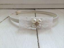 Ivory Satin Hairband Headband  Lace Bow Pearl & Diamanté  Bridesmaid Flower Girl