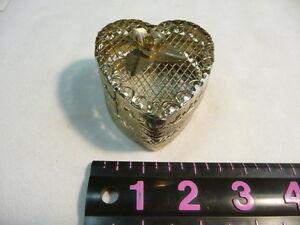 Silvertone Metal Filigree Heart Shaped Trinket Jewelry Box