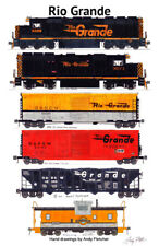 "Rio Grande Freight Train 11""x17"" Railroad Poster Andy Fletcher signed"