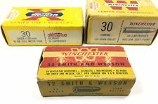 3 Winchester Western Ammo Box Empty 32 S&W 30 Luger Carbine Vintage Lot 1358-T