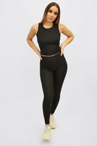 New UK Womens Ladies Sports Fitted Bandage Rib Leggings Pull On Casual Size 6-16