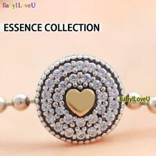925 Sterling Silver Essence Collection Affection Charm 14K Gold CZ Fit Bracelet