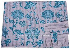 Indian Reversible Kantha Quilt Floral Print Handmade Bedspread Twin size Throw