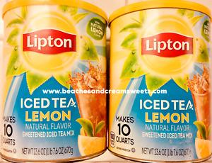 TWO LIPTON ICED TEA NATURAL LEMON POWDER 10 QUARTS EACH SWEETENED ICED TEA MIX