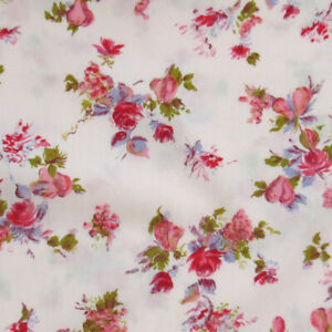 "Vintage 60s Pink Floral Print Cotton Fabric 36"" x 3.25 yds"