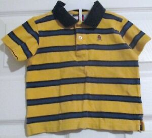 Tommy Hilfiger Yellow And Blue Stripe Collar Neck Short Sleeve Top Sz 12/18M 359