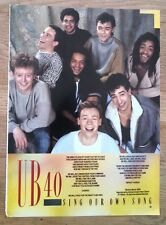 UB40 Sing Our Own Song lyrics magazine PHOTO/Poster/clipping 11x8 inches