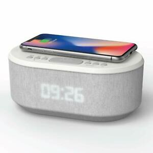 Led Alarm Clock Radio With USB Charger Bluetooth Speaker QI Wireless Charging