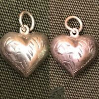 Vintage 1940s Sterling Silver Etched Flower Puffy Heart Charm