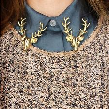 1pcs Gold Elk Head Horn Red Deer Hunting Collar Neck Tips Brooch Pin Scottish