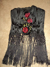 VICTORIA'S SECRET VINTAGE FRINGED EMBROIDERED FANCY SEXY VELOUR BUSTIER TOP S M