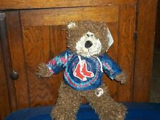 MLB MAJOR LEAGUE BASEBALL BOSTON RED SOX BROWN PLUSH TEDDY BEAR IN HOODIE