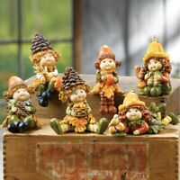 Set of 6 Sweet Acorn Kids Fall Thanksgiving Collectible Shelf Sitter Figurines