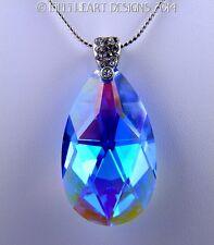 m/w Swarovski Sapphire AB Teardrop Silver Plate Chain + Bail Lilli Heart Designs